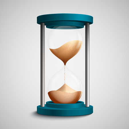 strew: Realistic blue colored hourglass with strewing sand concept template vector illustration