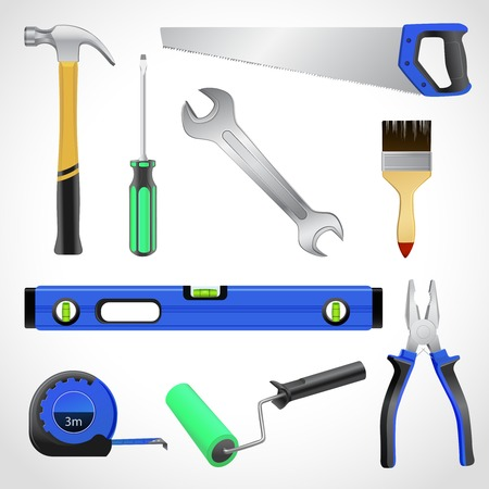 A collection of realistic house maintenance or repair carpenter tools isolated icons set of hammer saw pliers and wrench vector illustration