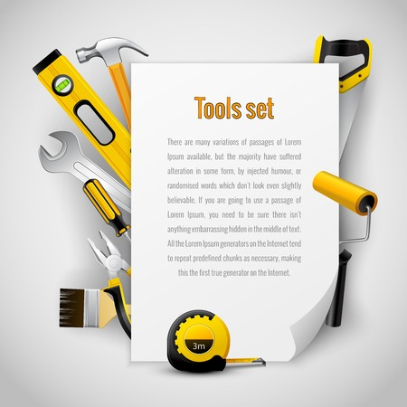 hardware repair: Realistic carpenter tools background frame with hammer saw pliers wrench screwdriver and measuring tape vector illustration Illustration