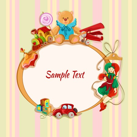 Vintage baby toys sketch frame postcard with peg top train lollypop teddy bear vector illustration Vector