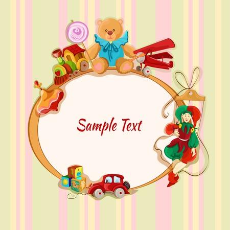 lollypop: Vintage baby toys sketch frame postcard with peg top train lollypop teddy bear vector illustration