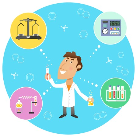laboratory label: Scientist chemist in lab with scales flasks and molecular structure symbols on background vector illustration