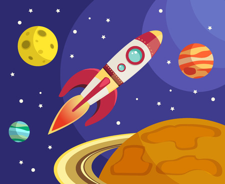 Space rocket ship flying in space with planets and stars on background print vector illustration Vector