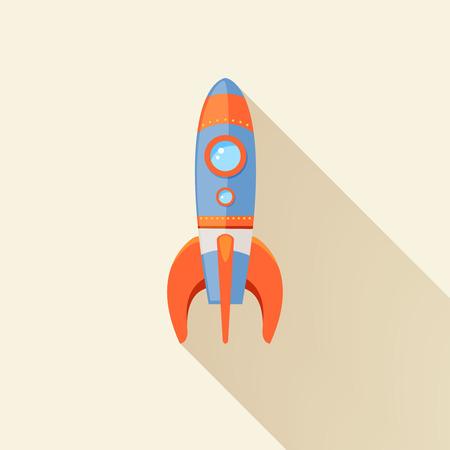 booster: Cohete espacial inicio de dibujos animados emblema futurista del viaje con estrellas sobre fondo ilustraci�n vectorial Vectores