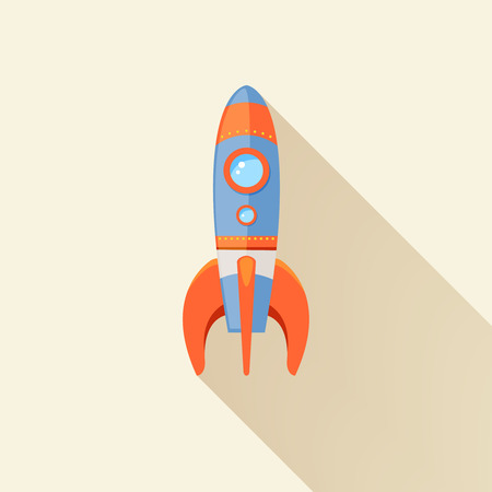 launch vehicle: Space rocket ship start cartoon futuristic travel emblem with stars on background vector illustration