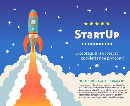 launch vehicle: Space rocket ship start up cartoon futuristic background with stars on background vector illustration