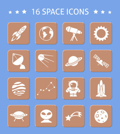 Space and astronomy button icons set of telescope sun radar planets isolated vector illustration Vector