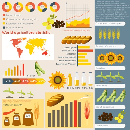 Agriculture farming organic food plant wheat sunflower charts and graphs vector illustration Vector
