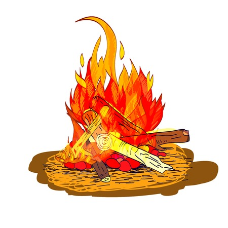 bonfires: Camp fire flame burn with fireplace wood and stones sketch isolated emblem vector illustration