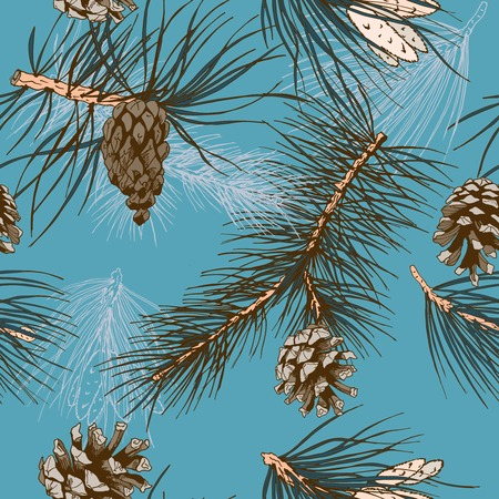 Colored pine branches and winter forest cones seamless wallpaper vector illustration Vector