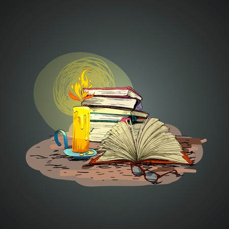 lit collection: Vintage retro wax candle reading books and glasses doodle vector illustration Illustration