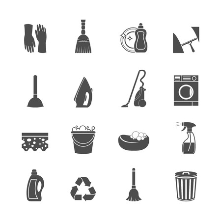lavar trastes: Limpieza de iconos de tareas domésticas de lavado conjunto de aspiradora fregona cubo esponja ilustración vectorial