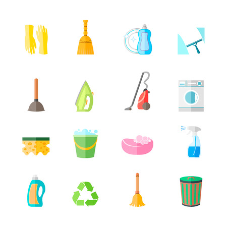 spray bottle: Cleaning housework equipment icons set of gloves spray iron brush isolated vector illustration