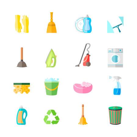 Schoonmaken van het huishouden apparatuur pictogrammen set van handschoenen spuiten ijzeren borstel geïsoleerde vector illustratie Stock Illustratie