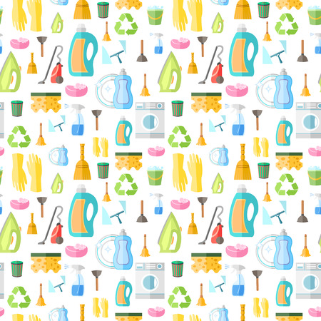 Cleaning washing housework dishes broom bottle sponge icons seamless pattern vector illustration Vector