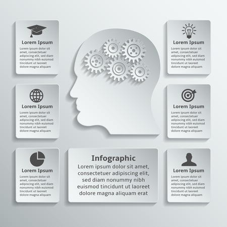 Paper human head with gears cogwheels and infographic elements vector illustration Vector