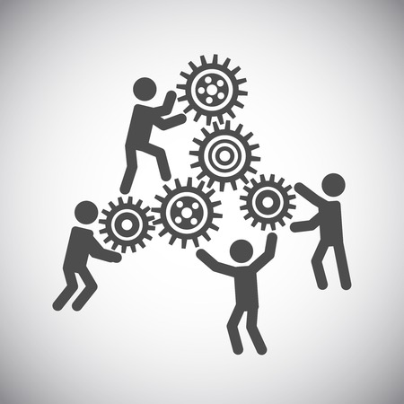 working together: Gear cog wheels teamwork working people collaboration concept vector illustration
