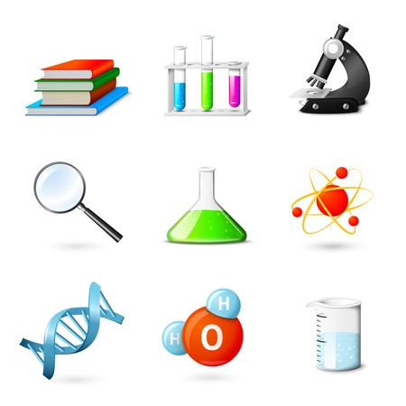 electrons: Science realistic  icons set with books beakers microscope magnifier isolated vector illustration