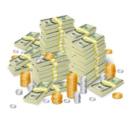 cash money: Los billetes en efectivo en dólares 3d realistas pila de dinero y la ilustración monedas torre vector concepto Vectores