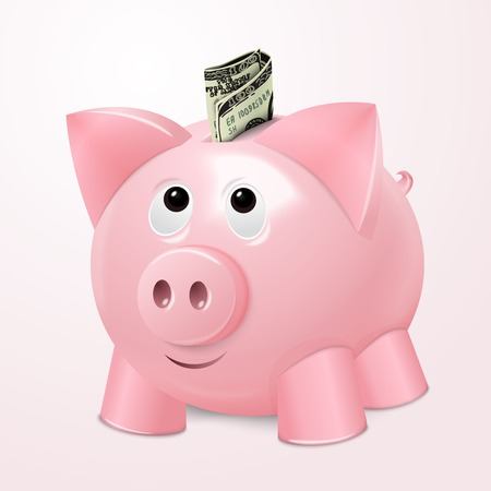Spaarpot geld kluis met contant geld dollar bill begrip vector illustratie