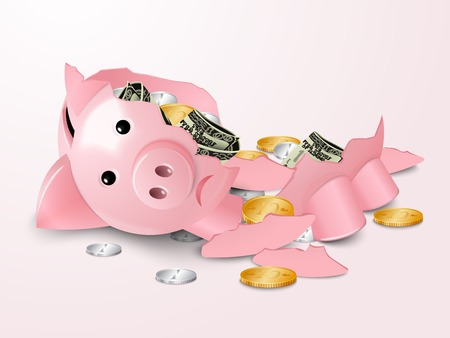 piggybank: Sad broken piggy bank money safe box with dollar banknotes and coins concept vector illustration Illustration