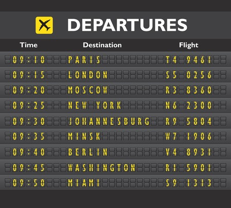 Airport departure arrival destination mechanical analog old style counter board template vector illustration Illustration