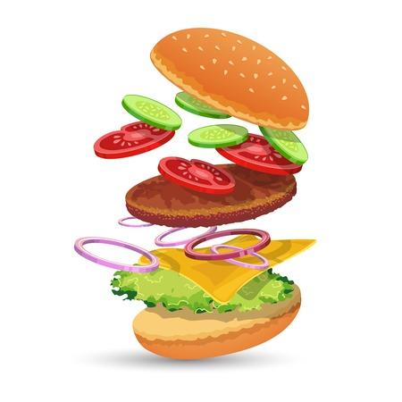 パン キュウリ トマト肉タマネギ チーズ レタス エンブレム ベクトル イラストのハンバーガーの食材食品を設定