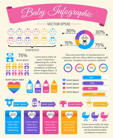 eating food: Il bambino del bambino modello di presentazione infografica con grafici e neonato elementi illustrazione vettoriale Vettoriali