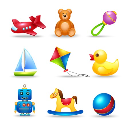 Decorative children toys icons set of airplane teddy bear rattle boat isolated vector illustration