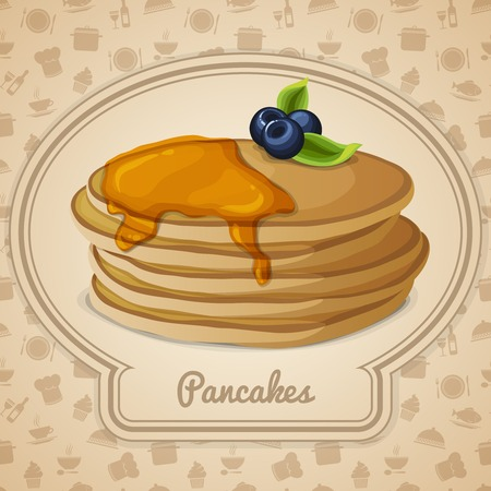 maple syrup: Crepes de postre con jarabe de arce en iconos de marco y cocina los alimentos en el fondo ilustraci�n vectorial Vectores