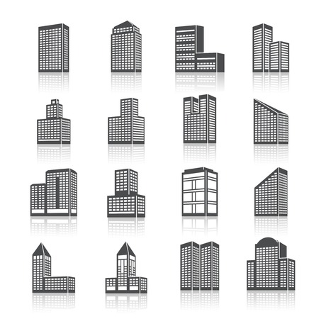 large office: Business center city edifice buildings black silhouettes on white pictograms icons set isolated vector illustration