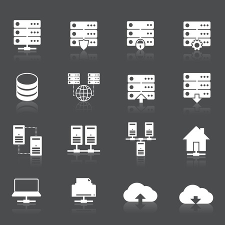 mainframe computer: Hosting technology computer network services icons set with rack monitor drive elements isolated vector illustration