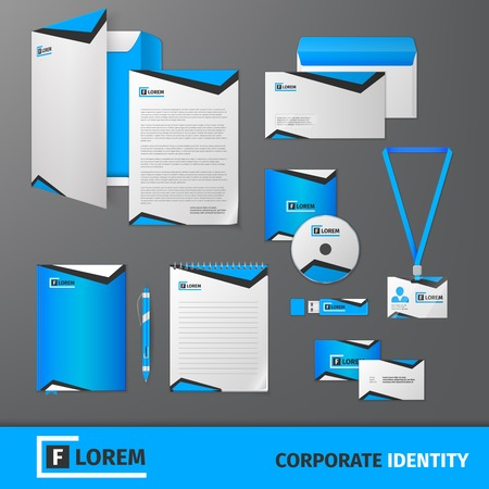 Blue geometric technology business stationery template for corporate identity and branding set isolated vector illustration Vector