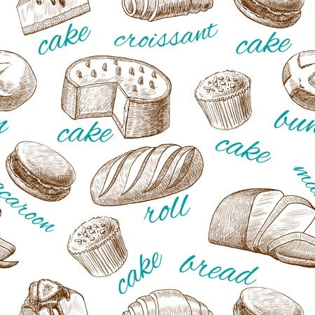 puff pastry: Cake croissant bread roll macaroon bun baking pastry seamless food wallpaper vector illustration