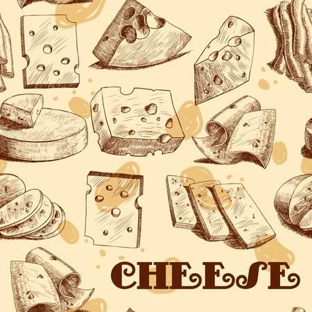 parmigiano: Fette di formaggio cheddar parmigiano blocchi e blocchi assortimento schizzo seamless wallpaper illustrazione vettoriale