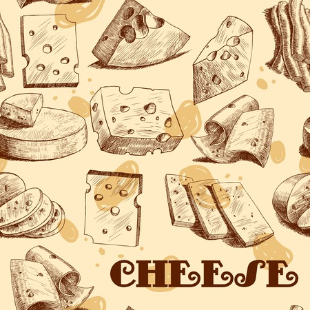 Cheddar parmesan cheese slices chunks and blocks assortment sketch seamless wallpaper vector illustration
