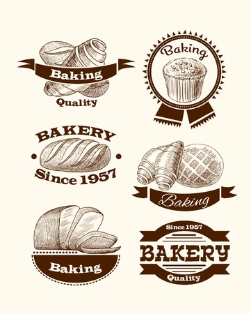 puff pastry: Croissant cake and traditional bread quality baking advertising food signs vector illustration