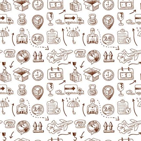 Iconos de servicio de logística y elementos de transporte en fisuras patrón de ilustración vectorial Foto de archivo - 27827760