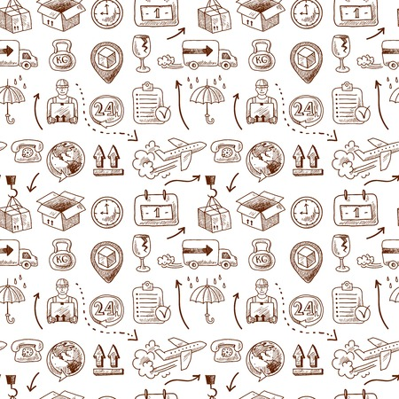 light chains: Logistic service icons and shipping elements in seamless pattern vector illustration Illustration
