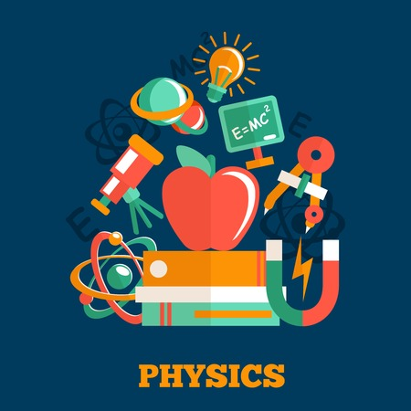 Physics science flat design poster with atom model magnet books vector illustration Illustration