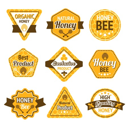 beekeeping: Honey best high quality organic products labels set isolated vector illustration