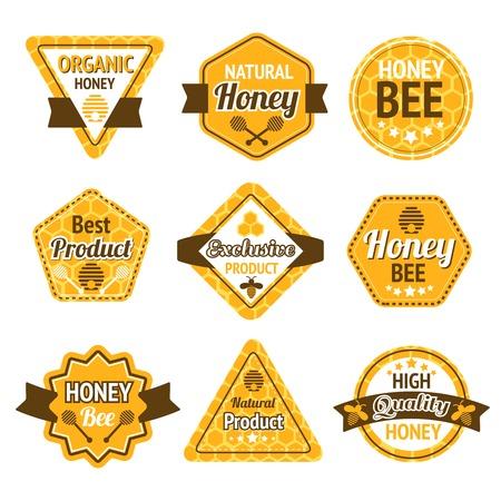 miel de abeja: Miel mejores productos orgánicos de alta calidad etiquetas fijadas aisladas ilustración vectorial Vectores