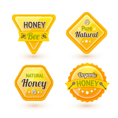 pure: Honey bee pure natural organic products labels set isolated vector illustration Illustration