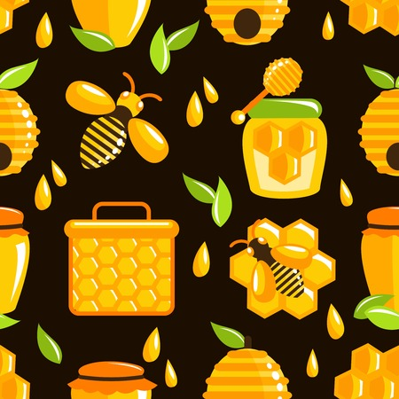 Decorative honey bumble bee honeycomb agriculture food seamless pattern vector illustration Vector