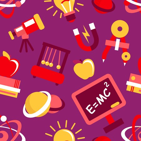 Physics equipment teaching and studying decorative seamless pattern vector illustration Vector
