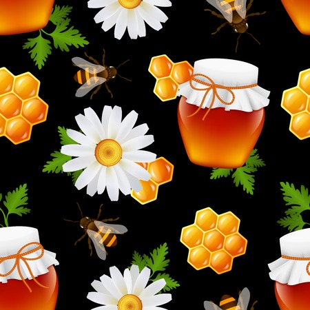 Decorative honey food glass jar bumble bee daisy honeycomb leaves seamless pattern vector illustration Vector
