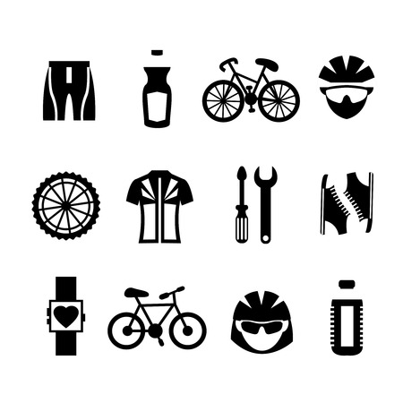 bicycle helmet: Bicycle sport fitness black and white icons set with clothes bottle helmet cyclist isolated vector illustration