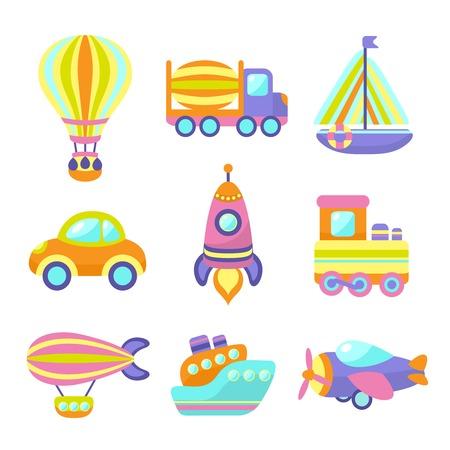 boat motor: Toy transport cartoon icons set with train car plane isolated vector illustration Illustration