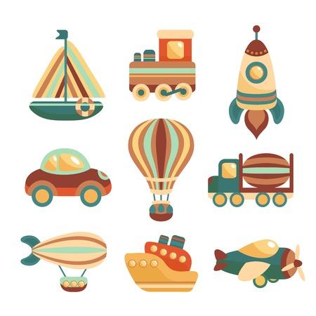 tren caricatura: Iconos de colores de transporte de juguete de dibujos animados conjunto con aislados tren yate espacial cohete ilustración vectorial