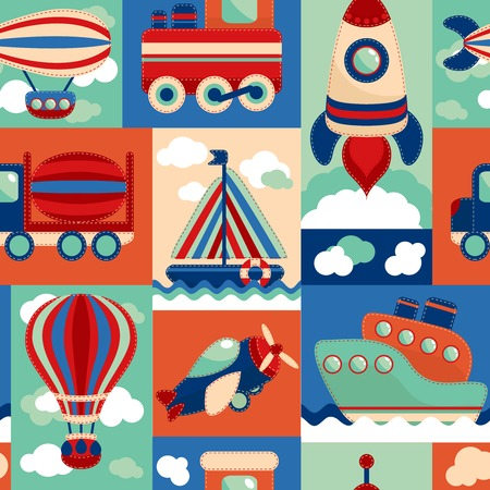 toy boat: Toy transport cartoon seamless pattern with airplane aerostat sail yacht vector illustration